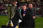 13 October 2017; Brian O'Driscoll and Lawerence Dallaglio being interviewed before the the European Rugby Champions Cup Pool 1 Round 1 match between Ulster and Wasps at Kingspan Stadium in Belfast. Photo by Oliver McVeigh/Sportsfile