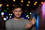 13 October 2017; Galway's David Burke with his Hurling Personality Award at the Gaelic Writers Association Awards 2017 at the Jackson Court Hotel, Harcourt Street, in Dublin. Photo by Piaras Ó Mídheach/Sportsfile