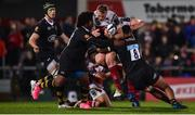 13 October 2017; Kieran Treadwell of Ulster is tackled by Ashley Johnson, left, and Nathan Hughes of Wasps during the European Rugby Champions Cup Pool 1 Round 1 match between Ulster and Wasps at Kingspan Stadium in Belfast. Photo by David Fitzgerald/Sportsfile