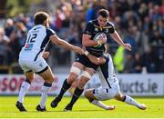 14 October 2017; James Ryan of Leinster is tackled by Frans Steyn, left, and Thomas Darmon of Montpellier during the European Rugby Champions Cup Pool 3 Round 1 match between Leinster and Montpellier at the RDS Arena in Dublin. Photo by Stephen McCarthy/Sportsfile