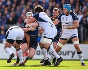 14 October 2017; James Tracy of Leinster is tackled by Bismarck Du Plessis, left, and Antoine Guillamon of Montpellier during the European Rugby Champions Cup Pool 3 Round 1 match between Leinster and Montpellier at the RDS Arena in Dublin. Photo by Stephen McCarthy/Sportsfile