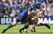 14 October 2017; Nicholaas Van Rensburg of Montpellier is tackled by Josh van der Flier and James Ryan of Leinster during the European Rugby Champions Cup Pool 3 Round 1 match between Leinster and Montpellier at the RDS Arena in Dublin. Photo by Matt Browne/Sportsfile