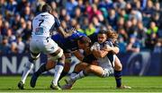 14 October 2017; Thomas Darmon of Montpellier is tackled by Rhys Ruddock, left, and James Tracy of Leinster during the European Rugby Champions Cup Pool 3 Round 1 match between Leinster and Montpellier at the RDS Arena in Dublin. Photo by Ramsey Cardy/Sportsfile