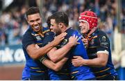 14 October 2017; Leinster's Robbie Henshaw, second right, celebrates with teammates from left, Adam Byrne, Joey Carbery and Josh van der Flier after scoring his side's third try during the European Rugby Champions Cup Pool 3 Round 1 match between Leinster and Montpellier at the RDS Arena in Dublin. Photo by Ramsey Cardy/Sportsfile