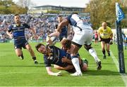 14 October 2017; Barry Daly of Leinster scores his side's fourth try despite the tackle by Nemani Nadolo, behind, and Timoci Nagusa of Montpellier during the European Rugby Champions Cup Pool 3 Round 1 match between Leinster and Montpellier at RDS Arena in Dublin. Photo by Matt Browne/Sportsfile