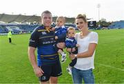 14 October 2017; Leinster's Sean Cronin with wife Claire and children Cillian, left, and Finn following the European Rugby Champions Cup Pool 3 Round 1 match between Leinster and Montpellier at the RDS Arena in Dublin. Photo by Ramsey Cardy/Sportsfile