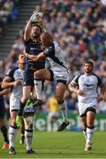 14 October 2017; Barry Daly of Leinster takes the high ball from Ruan Pienaar of  Montpellier during the European Rugby Champions Cup Pool 3 Round 1 match between Leinster and Montpellier at the RDS Arena in Dublin. Photo by Matt Browne/Sportsfile