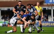 14 October 2017; Barry Daly of Leinster is tackled by Ruan Pienaar, left, and Bismarck Du Plessis of Montpellier during the European Rugby Champions Cup Pool 3 Round 1 match between Leinster and Montpellier at the RDS Arena in Dublin. Photo by Ramsey Cardy/Sportsfile
