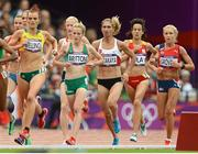 7 August 2012; Ireland's Fionnuala Britton competes in her heat of the women's 5,000m where she finished in 10th place but failed to qualify for the final. London 2012 Olympic Games, Athletics, Olympic Stadium, Olympic Park, Stratford, London, England. Picture credit: Brendan Moran / SPORTSFILE