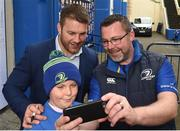 14 October 2017; Leinster player Sean O'Brien with Leinster supporters Michael and David Ryan from Hacketstown, Co Carlow in Autograph Ally, ahead of the European Rugby Champions Cup Pool 3 Round 1 match between Leinster and Montpellier at the RDS Arena in Dublin. Photo by Matt Browne/Sportsfile