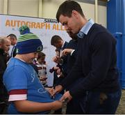 14 October 2017; Leinster player Johnny Sexton with Leinster supporter Michael Ryan from Hacketstown Co. Carlow in Autograph Ally, ahead of the European Rugby Champions Cup Pool 3 Round 1 match between Leinster and Montpellier at the RDS Arena in Dublin. Photo by Matt Browne/Sportsfile