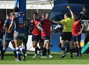 15 October 2017; Conor Murray of Munster is shown a yellow card by referee Matthew Carley during the European Rugby Champions Cup Pool 4 Round 1 match between Castres Olympique and Munster at Stade Pierre Antoine in Castres, France. Photo by Brendan Moran/Sportsfile