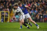 15 October 2017; David Kirk of Magheracloone in action against Darren Hughes of Scotstown during the Monaghan County Senior Football Championship Final match between Magheracloone and Scotstown at St Tiernach's Park in Monaghan. Photo by Philip Fitzpatrick/Sportsfile