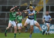 15 October 2017; David Breen of Na Piarsaigh in action against Michael Houlihan, left, and Philip O'Loughlin of Kilmallock during the Limerick County Senior Hurling Championship Final match between Na Piarsaigh and Kilmallock at the Gaelic Grounds in Limerick. Photo by Diarmuid Greene/Sportsfile