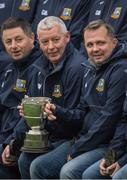 15 October 2017; Former Clare goalkeeper and current Wexford manager Davy Fitzgerald, right, with the then team captain John Chaplin, to his right, as he and his Sixmilebridge teammates celebrate the Jubilee year of their 1992 and '93 County Championship victory  during hals time in the Clare County Senior Hurling Championship Final match between Clooney Quin and Sixmilebridge at Cusack Park in Ennis County Clare. Photo by Ray McManus/Sportsfile