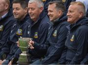 15 October 2017; Former Clare goalkeeper and current Wexford manager Davy Fitzgerald, 2nd from right, with the then team captain John Chaplin, to his right, as he and his Sixmilebridge teammates celebrate the Jubilee year of their 1992 and '93 County Championship victory  during hals time in the Clare County Senior Hurling Championship Final match between Clooney Quin and Sixmilebridge at Cusack Park in Ennis County Clare. Photo by Ray McManus/Sportsfile