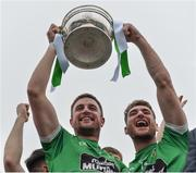 15 October 2017; Moorefield captain Daryl Flynn lifts the Dermot Bourke Cup with team-mate David Whyte, after the Kildare County Senior Football Championship Final match between Celbridge and Moorefield at St Conleth's Park in Newbridge, Co Kildare. Photo by Piaras Ó Mídheach/Sportsfile