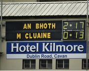 15 October 2017; A general view of the scoreboard, after the Monaghan County Senior Football Championship Final match between Magheracloone and Scotstown at St Tiernach's Park in Monaghan. Photo by Philip Fitzpatrick/Sportsfile