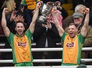 15 October 2017; Ciaran McGrath, right, captain of Corofin lifts the Frank Fox Cup with team-mate Micheal Lundy after the Galway County Senior Football Championship Final match between Corofin and Mountbellew/Moylough at Tuam Stadium in Galway. Photo by Matt Browne/Sportsfile