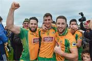 15 October 2017; Corofin players from left Conor Cunningham, Ronan Steede and Micheal Lundy celebrate winning five in a row after the Galway County Senior Football Championship Final match between Corofin and Mountbellew/Moylough at Tuam Stadium in Galway. Photo by Matt Browne/Sportsfile