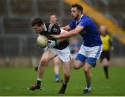 15 October 2017; Allan Kieran of Magheracloone in action against Emmet Caulfield of Scotstown, during the Monaghan County Senior Football Championship Final match between Magheracloone and Scotstown at St Tiernach's Park in Monaghan. Photo by Philip Fitzpatrick/Sportsfile