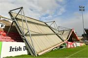 16 October 2017; A view of the damage to the Derrynane Stand at Turners Cross Stadium, home of Cork City Football Club, due to Storm Ophelia. Photo by Eóin Noonan/Sportsfile