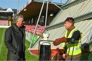 17 October 2017; FAI CEO John Delaney speaking to a member of the construction crew during a visit to Turners Cross to survey the ground's safety ahead of the SSE Airtricity League Premier Division match between Cork City and Derry City. Photo by Eóin Noonan/Sportsfile