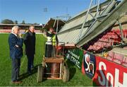 17 October 2017; FAI CEO John Delaney and Cork City FC Chairman Pat Lyons speaking to a member of the construction crew during a visit to Turners Cross to survey the ground's safety ahead of the SSE Airtricity League Premier Division match between Cork City and Derry City. Photo by Eóin Noonan/Sportsfile