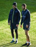 17 October 2017; Jonathan Sexton, left, and Ross Byrne of Leinster during Leinster Rugby Squad Training at Donnybrook Stadium in Dublin. Photo by Cody Glenn/Sportsfile