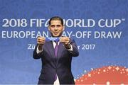 17 October 2017; Fernando Hierro draws the Republic of Ireland during the 2018 FIFA World Cup European Play-off Draw at the Home of FIFA in Zurich, Switzerland. Photo by Andy Mueller/Sportsfile