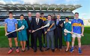 "17 October 2017; In attendance at Croke Park to launch the AIG Fenway Hurling Classic and Irish Festival, also supported by Aer Lingus, from left, Eoghan O'Donnell of Dublin, Suzanne Earley, Senior Cabin Crew, Aer Lingus, Dermot Earley, CEO, Gaelic Players Association, Declan O'Rourke, General Manager, AIG Ireland, David Fitzgerald of Clare, Declan Kearney, Director of Communications, Aer Lingus, Johnny Coen of Galway, Feargal McGill, Director of Player, Club & Games Administration, GAA, Karen Daly, Senior Cabin Crew, Aer Lingus, and Michael Cahill of Tipperary. On November 19, Dublin will take on Galway and Tipperary will face Clare in Fenway Park with the winning sides from both proceeding to a final for a chance to win the inaugural Players Champions Cup. This is the second time in three years that hurling, in the ""Super 11's"" format, will be played at the venue. Tickets for the AIG Fenway Hurling Classic and Irish Festival can be purchased at www.redsox.com/hurling. Photo by Brendan Moran/Sportsfile"