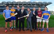 "17 October 2017; In attendance at Croke Park to launch the AIG Fenway Hurling Classic and Irish Festival, also supported by Aer Lingus, from left, Eoghan O'Donnell of Dublin, David Fitzgerald of Clare, Dermot Earley, CEO, Gaelic Players Association, Declan O'Rourke, General Manager, AIG Ireland, Declan Kearney, Director of Communications, Aer Lingus, Feargal McGill, Director of Player, Club & Games Administration, GAA, Johnny Coen of Galway and Michael Cahill of Tipperary. On November 19, Dublin will take on Galway and Tipperary will face Clare in Fenway Park with the winning sides from both proceeding to a final for a chance to win the inaugural Players Champions Cup. This is the second time in three years that hurling, in the ""Super 11's"" format, will be played at the venue. Tickets for the AIG Fenway Hurling Classic and Irish Festival can be purchased at www.redsox.com/hurling. Photo by Brendan Moran/Sportsfile"