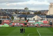 17 October 2017; Cork City players on the pitch at Turners Cross in front of the Derrynane Stand which was hit by Storm Ophelia prior to the SSE Airtricity League Premier Division match between Cork City and Derry City at Turners Cross, in Cork. Photo by Stephen McCarthy/Sportsfile