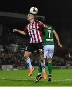 17 October 2017; Ben Doherty of Derry City in action against Jimmy Keohane of Cork City, during the SSE Airtricity League Premier Division match between Cork City and Derry City at Turners Cross, in Cork. Photo by Eóin Noonan/Sportsfile
