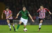 17 October 2017; Stephen Dooley of Cork City in action against Barry McNamee, left, and Ronan Curtis of Derry City, during the SSE Airtricity League Premier Division match between Cork City and Derry City at Turners Cross, in Cork.  Photo by Eóin Noonan/Sportsfile