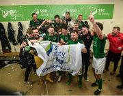 17 October 2017; Cork City players and staff celebrate winning the SSE Airtricity League Premier Division in the dressing room after the SSE Airtricity League Premier Division match between Cork City and Derry City at Turners Cross in Cork. Photo by Stephen McCarthy/Sportsfile