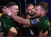 17 October 2017; Steven Beattie, right, celebrates with teammates Garry Buckley, left and Greg Bolger, centre, after the SSE Airtricity League Premier Division match between Cork City and Derry City at Turners Cross, in Cork.  Photo by Eóin Noonan/Sportsfile