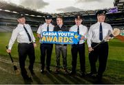 18 October 2017; Former Dublin footballer Ger Brennan, with, from left, Superintendent Gerard Murphy, Superintendent Dan Flavin, Assistant Garda Commissioner Pat Leahy, and Chief Superintendent Seán Ward, in attendance at the launch of the inaugural Dublin North Central Garda Youth Awards in association with Croke Park. These awards are being launched to celebrate outstanding young people between 13 and 21 years of age and will recognise the good work being done by young people throughout the communities of Dublin North Central. Find out more at crokepark.ie/YouthAwards Photo by Piaras Ó Mídheach/Sportsfile