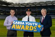 18 October 2017; In attendance at the launch of the inaugural Dublin North Central Garda Youth Awards in association with Croke Park are, from left, former Dublin footballer Ger Brennan, Assistant Garda Commissioner Pat Leahy and Ard Stiúrthoir Paraic Duffy. These awards are being launched to celebrate outstanding young people between 13 and 21 years of age and will recognise the good work being done by young people throughout the communities of Dublin North Central. Find out more at crokepark.ie/YouthAwards Photo by Piaras Ó Mídheach/Sportsfile