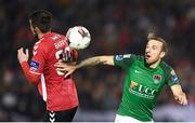 17 October 2017; Karl Sheppard of Cork City in action against Aaron Barry of Derry City during the SSE Airtricity League Premier Division match between Cork City and Derry City at Turners Cross in Cork. Photo by Stephen McCarthy/Sportsfile