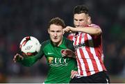 17 October 2017; Connor McDermott of Derry City in action against Kieran Sadlier of Cork City during the SSE Airtricity League Premier Division match between Cork City and Derry City at Turners Cross in Cork. Photo by Stephen McCarthy/Sportsfile