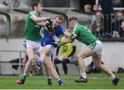 15 October 2017; Michael Konstantin of Celbridge in action against Aaron Masterson, left, and Adam Tyrell of Moorefield during the Kildare County Senior Football Championship Final match between Celbridge and Moorefield at St Conleth's Park in Newbridge, Co Kildare. Photo by Piaras Ó Mídheach/Sportsfile