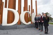 19 October 2017; Dublin Ladies footballer Leah Caffrey with, from right, Waterford footballer and hurler Donal Breathnach, Sligo footballer Cian Breheny, Dublin hurler Cian Boland, Down footballer Conor McGinn and Mayo footballer Barry Moran in attendance at a GPA DCU Business School Masters Scholarship Programme and MBA Programme announcement at DCU Business School in Glasnevin, Dublin. Photo by Matt Browne/Sportsfile