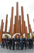19 October 2017; GPA Chief Executive Dermot Earley, centre, Dr. Donal O'Brien from DCU Business School, fifth from left, and Deputy President of DCU Daire Keogh, fifth from right, with, from left, Sligo footballer Cian Breheny, Waterford footballer and hurler Donal Breathnach, Dublin footballer Bryan Murphy, Dublin Ladies footballer Leah Caffrey, Mayo footballer Barry Moran, Dublin hurler Cian Boland, and Down footballers Conor McGinn and Luke Howard in attendance at a GPA DCU Business School Masters Scholarship Programme and MBA Programme announcement at DCU Business School in Glasnevin, Dublin. Photo by Matt Browne/Sportsfile