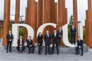 19 October 2017; Dr. Donal O'Brien from DCU Business School with, from left, Sligo footballer Cian Breheny, Waterford footballer and hurler Donal Breathnach, Dublin footballer Bryan Murphy, Dublin Ladies footballer Leah Caffrey, Mayo footballer Barry Moran, Dublin hurler Cian Boland, and Down footballers Conor McGinn and Luke Howard in attendance at a GPA DCU Business School Masters Scholarship Programme and MBA Programme announcement at DCU Business School in Glasnevin, Dublin. Photo by Matt Browne/Sportsfile
