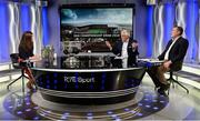 19 October 2017; RTÉ's, from left, Joanne Cantwell, Pat Spillane and Ciarán Whelan during the 2018 GAA Championship Draw at RTÉ Studios in Donnybrook, Dublin. Photo by Piaras Ó Mídheach/Sportsfile