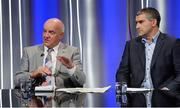 19 October 2017; RTÉ analysts Cyril Farrell, left, and Liam Sheedy during the 2018 GAA Championship Draw at RTÉ Studios in Donnybrook, Dublin. Photo by Piaras Ó Mídheach/Sportsfile
