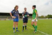 11 August 2012; Referee Sean Joy tosses a coin between Clare captain Emma O'Driscoll, and Meath captain Katie O'Brien, before the game. TG4 All-Ireland Ladies Football Senior Championship Qualifier Round 2, Clare v Meath, St. Brendan's Park, Birr, Co. Offaly. Picture credit: Barry Cregg / SPORTSFILE