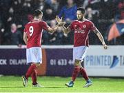 20 October 2017; Billy Dennehy, right, celebrates with his St Patrick's Athletic team-mate Christy Fagan after scoring his side's second goal during the SSE Airtricity League Premier Division match between St Patrick's Athletic and Cork City at Richmond Park in Dublin. Photo by Stephen McCarthy/Sportsfile