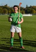 21 October 2017; Ireland captain Séan Finn with the cup and a Scottish shinty stick, after the U21 Shinty International match between Ireland and Scotland at Bught Park in Inverness, Scotland. Photo by Piaras Ó Mídheach/Sportsfile